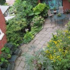 An overhead shot of the side patio.