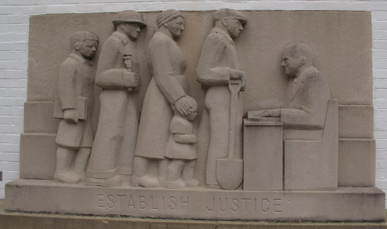 bas-relief at Greenbelt Community Center by Lenore Thomas Straus
