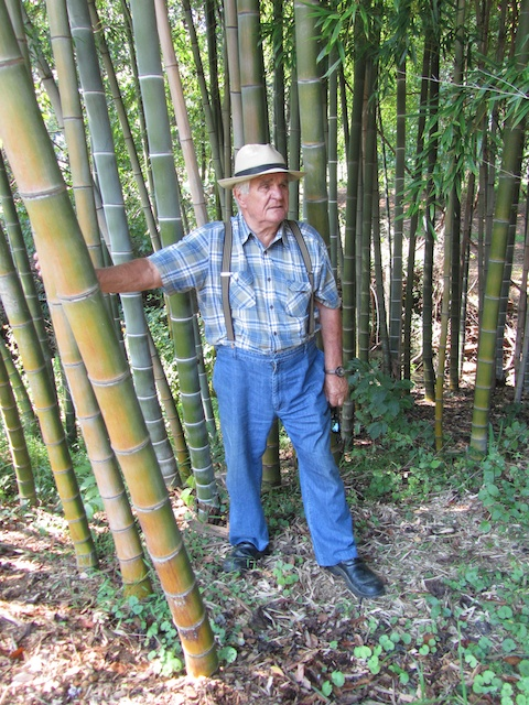 Kurt with the bamboo, Phyllostachys edulis, 2012