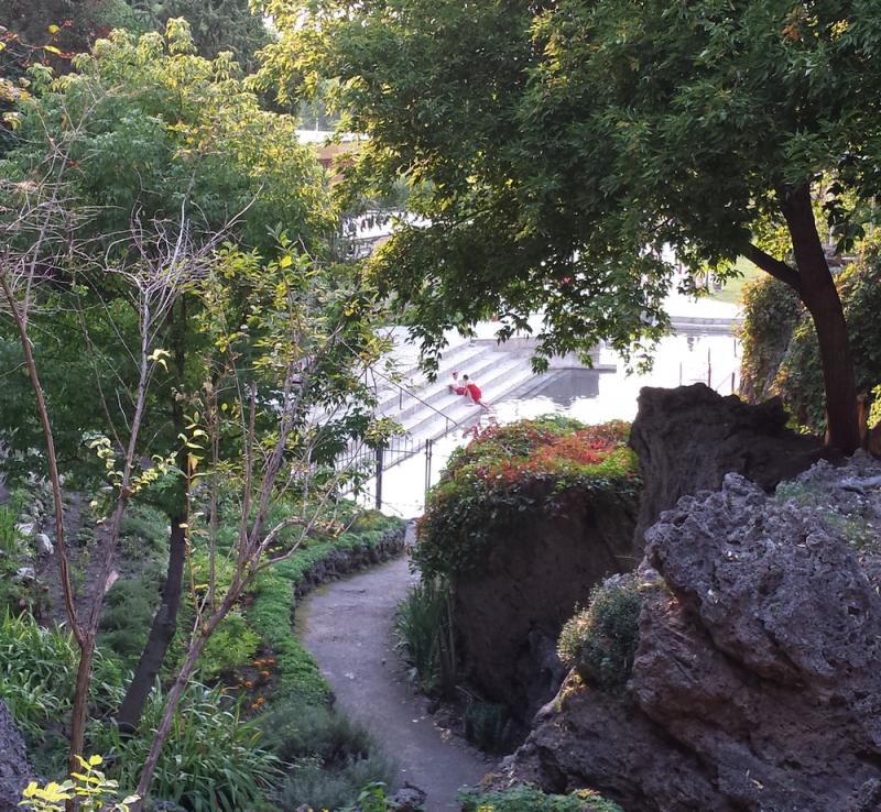 Terraced gardens overlook the bathing pools at Lava Hot Springs Resort.