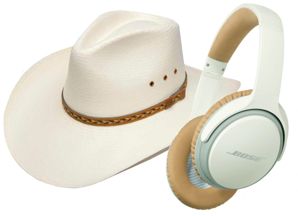 The Stetson Baytown Straw hat and Bose Soundlink wireless headphones each work brilliantly but not together