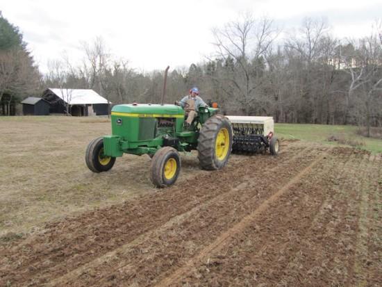 Seed sowing in Salvisa, Kentucky. December 14, 2011.