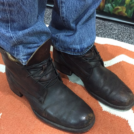 Patrick Kern, green roof enthusiast, recently returned from apprenticeship with Plantica in Guadalajara, Mexico Frye boots.