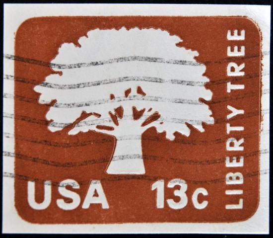 1975 Liberty Tree stamp. Photo Netfali/Shutterstock