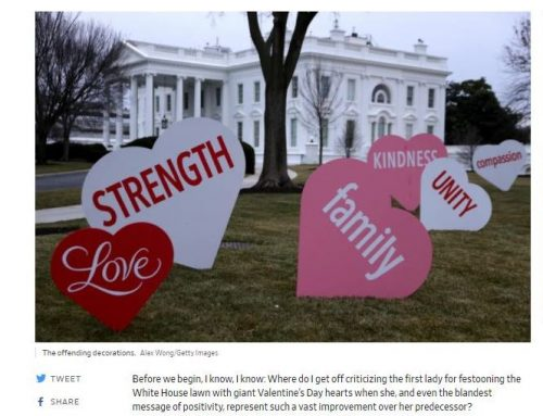 White House Lawn Festooned with Valentine's Day Hearts – Who Cares if they're Corny?
