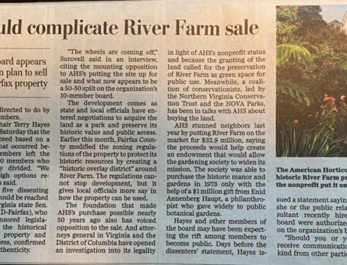 Huge Rift at American Hort Society over Sale of River Farm