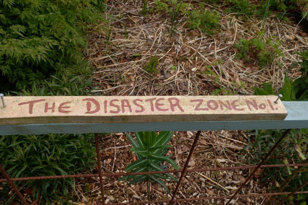Disaster Zone sign Veddw copyright Anne Wareham