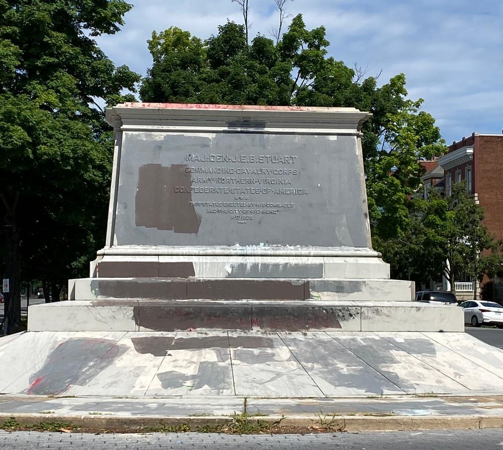 Plinth of JEB Stuart statue in Richmond, Va