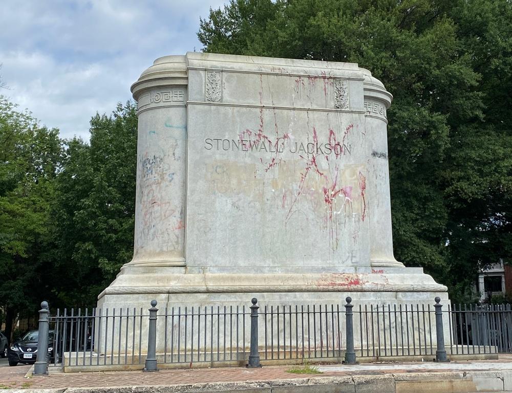 Plinth of Stonewall Jackson statue in Richmond, Va