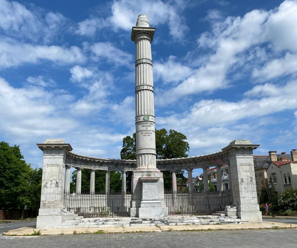 Plinth of Jefferson Davis statue in Richmond, Va